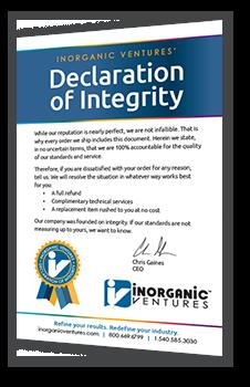 Inorganic Ventures' Declaration of Integrity