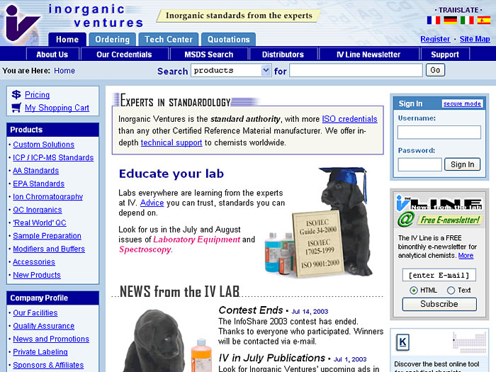 Website Home Page 2003