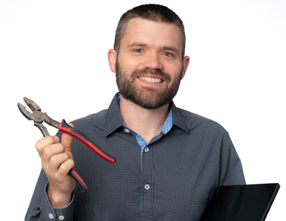 Man holder tool and laptop